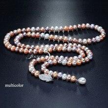 Collar de perlas largas con borla de agua dulce para mujer, collar de perlas nupcial real natural cuerpo color multicapa para niñas mejor amigo