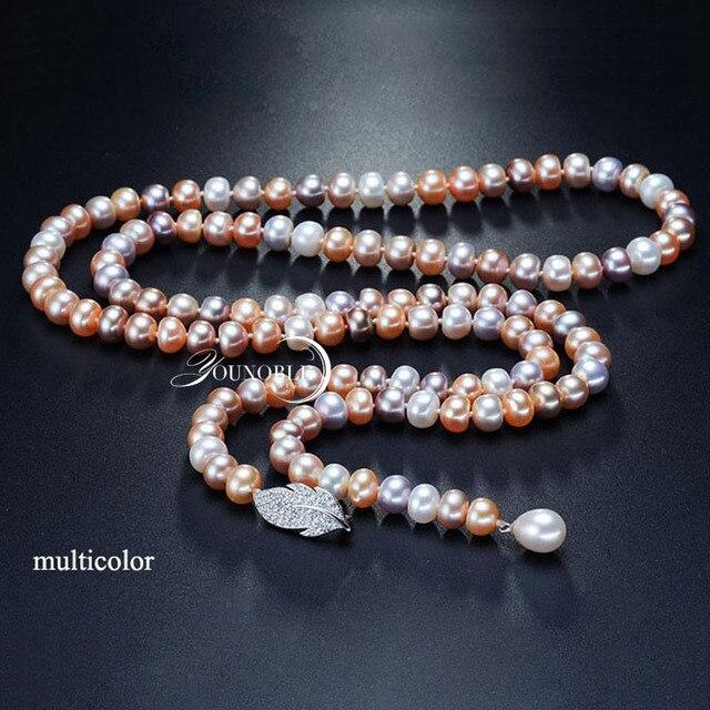 Dacqua dolce nappa lunga collana di perle donne, reale naturale collana di perle da sposa corpo multi strato di colore per migliore amico delle ragazze