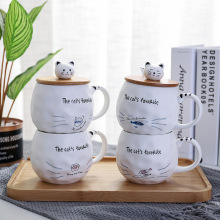 400ml Cartoon Cat Creative Ceramic Mug With Lid And Spoon Cute Coffee Cup Office Home Drinking Cups Funny Mugs Milk Tea