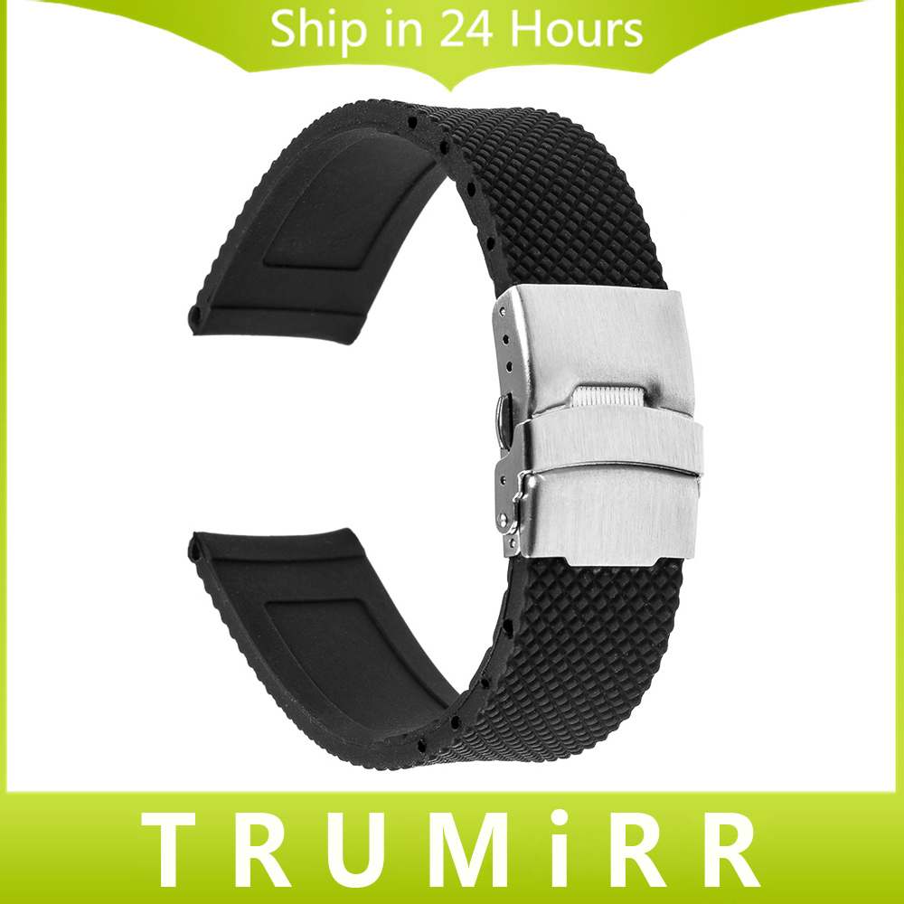 24mm Silicone Rubber Watchband for Sony Smartwatch 2 SW2 Replacement Watch Band Strap Stainless Steel Buckle Bracelet with Lock купить