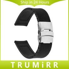 24mm Caoutchouc Bracelet En Silicone pour Sony Smartwatch 2 SW2 De Montre De Remplacement de Courroie De Bande Boucle En Acier Inoxydable Bracelet avec Serrure
