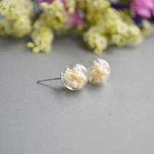 925 Sterling Silver original babysbreath real dried flowers glass ball anti allergy Earrings pure fresh romantic Handmade gift