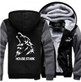Hot 2017 New fashion American Game of Thrones black Hoodie Logo Winter thick Fleece Mens Sweatshirts jacket clothing long sleeve