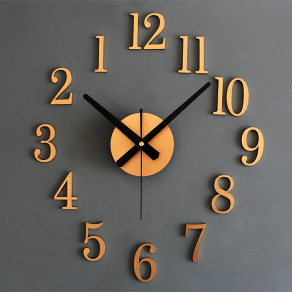 DIY Wall Clock Silent Acrylic Sticker Arabic Numbers ...