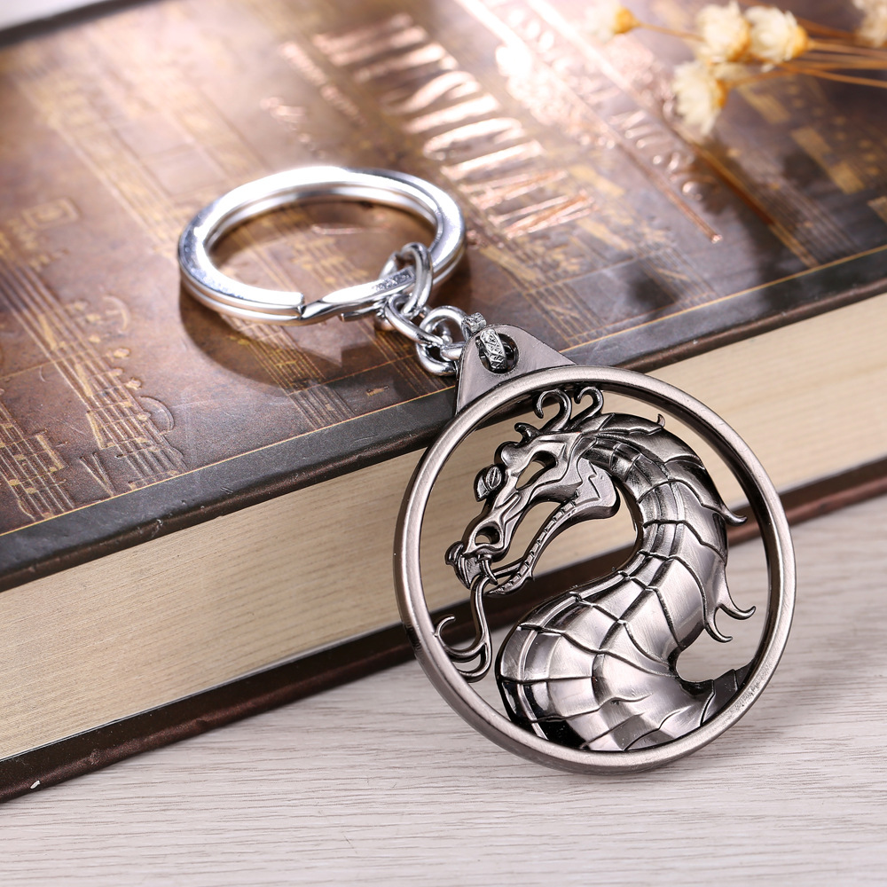 Linnor Gragon Mortal Kombat Logo Keyring Metal Dragon Sign Keychain Game Key Chain Car Pendant for Male Gift Llaveros Hombre