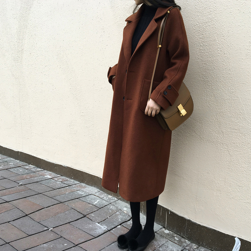England Style Wool Coat Long Wool Blend Coat and Jacket Single Breasted Women Coats Autumn Winter