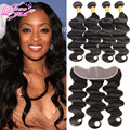 7a Brazilian Hair Weave Bundles With Frontal Closure Three Part Queen Hair Products Swiss Lace Frontal 12-20 Inch Free Shipping