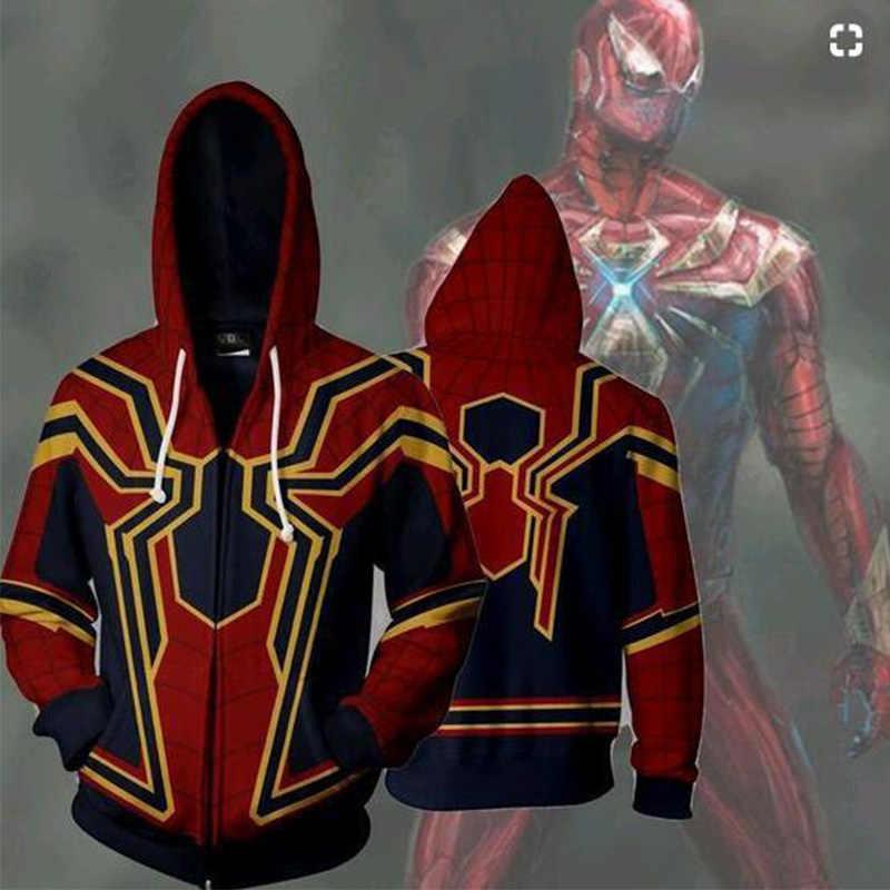 Marvel Movie Spiderman Sweatshirts 3D Print Avengers 3 Infinite War Cos Super Hero Collection Hooded ZIP Hoodie Hoodie Tops