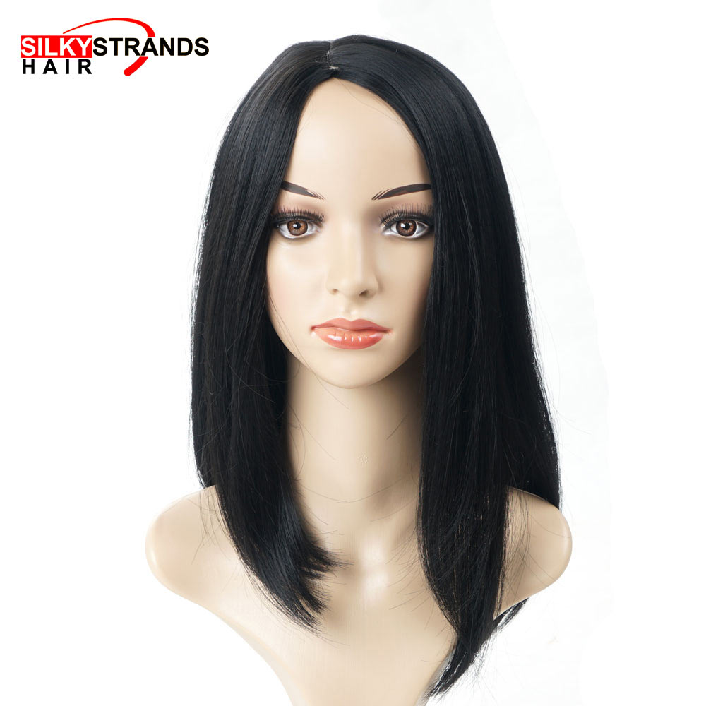 Short Heat Resistant Synthetic Straight Black Wigs For Women Side Part Bob Cuts Natural Looking Shoulder Length Wigs