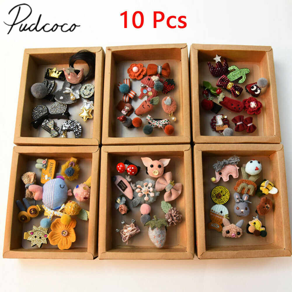 2019 Baby Accessories 10pcs/set Girl Baby Hair Clips Slides Snap Grips Bendy Ladybird Bow Prong Close Baby Shower Kids Gifts