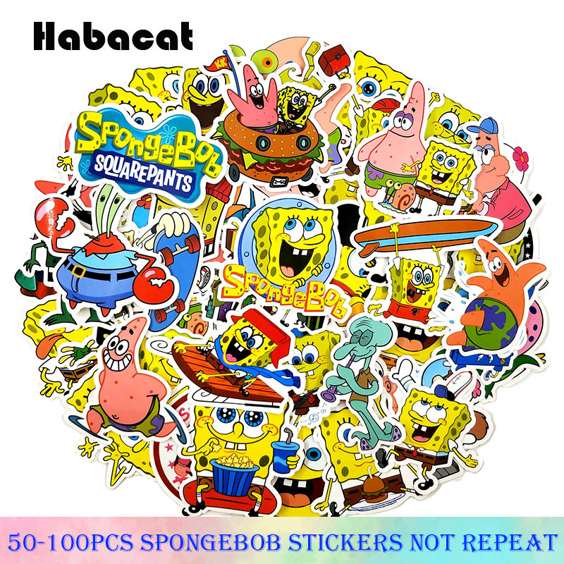50-100Pcs/Pack SpongeBob  Graffiti Stickers American Cartoon For Motorcycle Notebook Luggage Bicycle Skateboard Pegatina For Kid