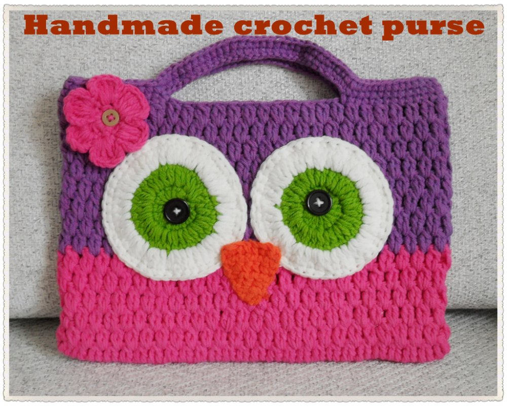 Crochet Purse For Child : cartoon bag ,crochet owl handbag ,kids knitted handbag,cute cotton bag ...
