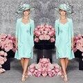 2016 Venda Quente Mint Verde Querida Mãe dos vestidos de Noiva vestidos com Jacket Plus Size Na Altura Do Joelho Mãe De Noiva vestidos de Casamento vestidos