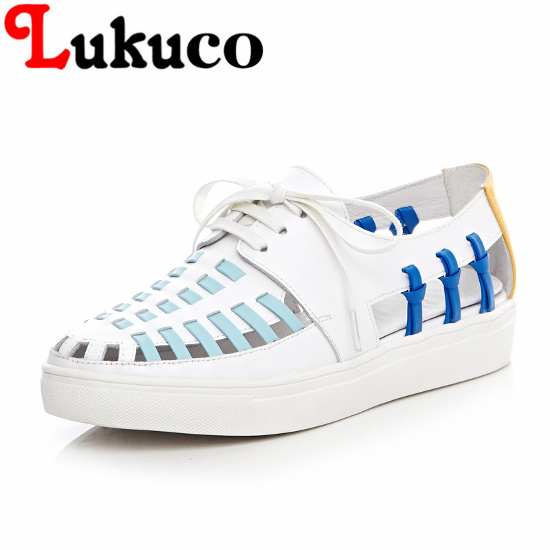 ФОТО 2016 Trendy novetly flats platform with cut-outs design high quality women mixed colors lace-up shoes summer sapatos femininos