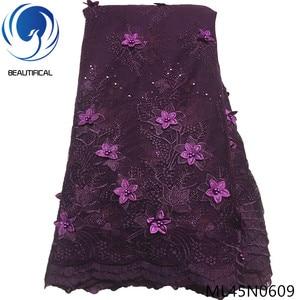Image 3 - Piękne 3d koronki kwiaty najnowsze nigeryjskie koronki style francuski party koronki tkaniny 5 metrów 2019 tiul tkaniny 3d ML45N06