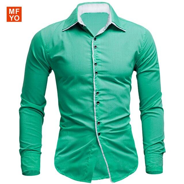 Nueva marca Para Hombre Camisas Ocasionales Adelgazan Las Camisas de Manga Larga Dresse Formal de Negocios Único Da Vuelta-abajo Camisas de los hombres 10 colores