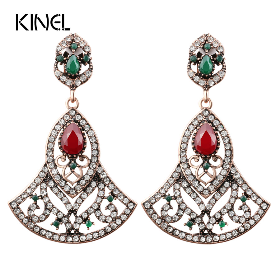 Luxury Big Earrings For Women In Drop Earrings Turkish Style Ancient Gold Color Party Accessories Crystal Vintage Jewelry