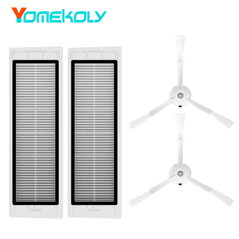 2PCS HEPA Filter 2PCS Side Brush for Xiaomi Mi Robot Vacuum Cleaner Parts Robotic Cleaning Filter Cleaning Spare Parts xiaomi 2pcs set robot vacuum filter xiaomi robotic vacuum cleaner parts hepa filter original filters replacements