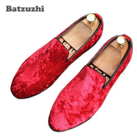 Luxury Men Shoes Red Leather Men's Casual Shoes Handmade Comfortable Breathable Men Loafers Party Dress Shoes Male Personality