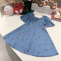 2019 Summer cherry Printed Baby Girls Blue Dress Party Boutique Princess Dress for Girl Denim Dress outwear pretticoat
