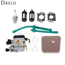 DRELD воздушный и топливный фильтр для карбюратора Свеча зажигания Carb комплект для STIHL FS38 FS45 FS46 FS55 FS55R FS55RC KM55 FS45C FS55T триммеры резак