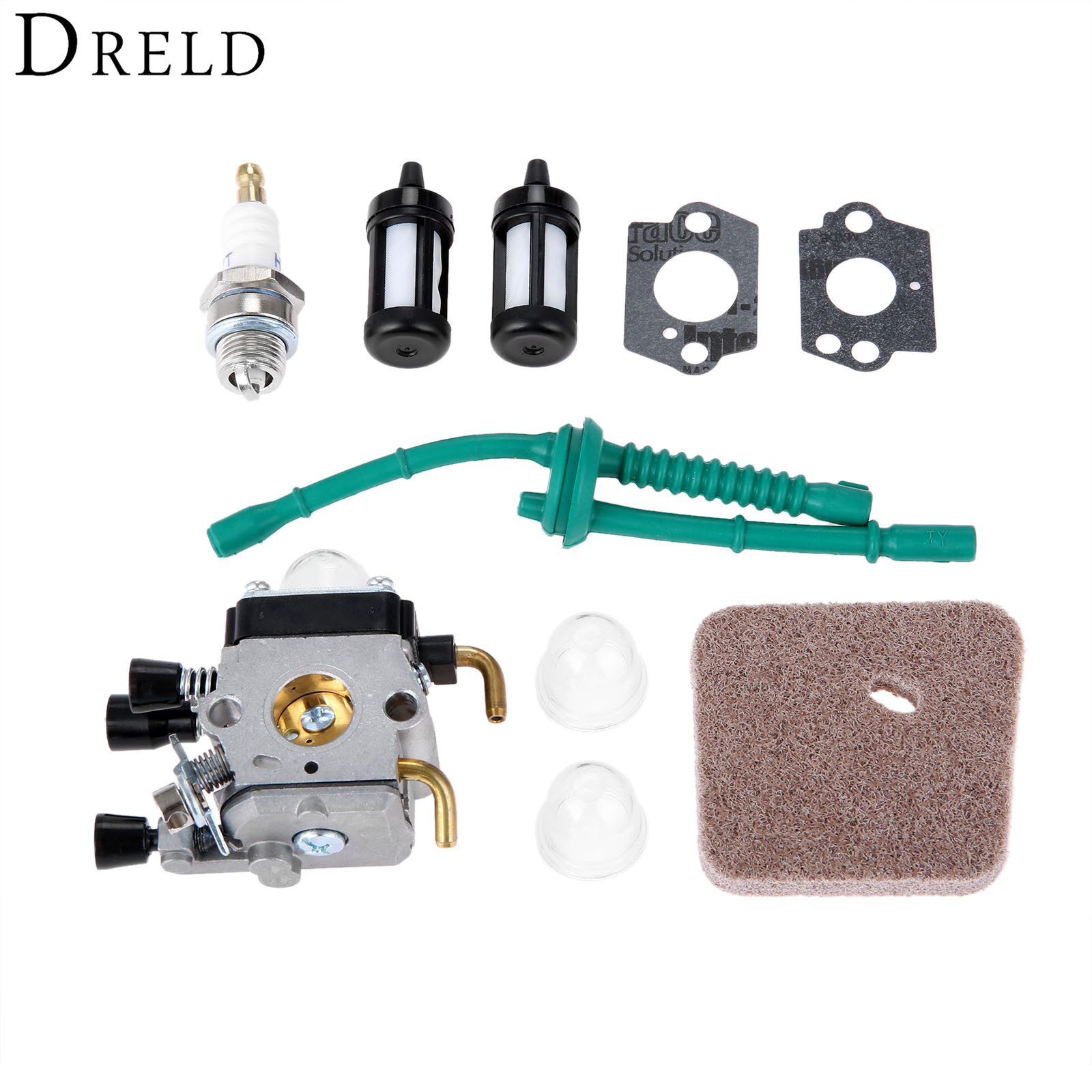 DRELD <font><b>Carburetor</b></font> Air Fuel Filter Spark Plug Carb Kit <font><b>For</b></font> <font><b>STIHL</b></font> <font><b>FS38</b></font> <font><b>FS45</b></font> FS46 FS55 FS55R FS55RC KM55 FS45C FS55T Trimmers Cutter image