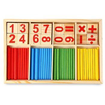 24 pezzi Montessori Matematica Intelligenza Stick di Apprendimento In Età Prescolare Educativi Matematica Giocattoli di Legno Math Game Spiedi Giocattolo