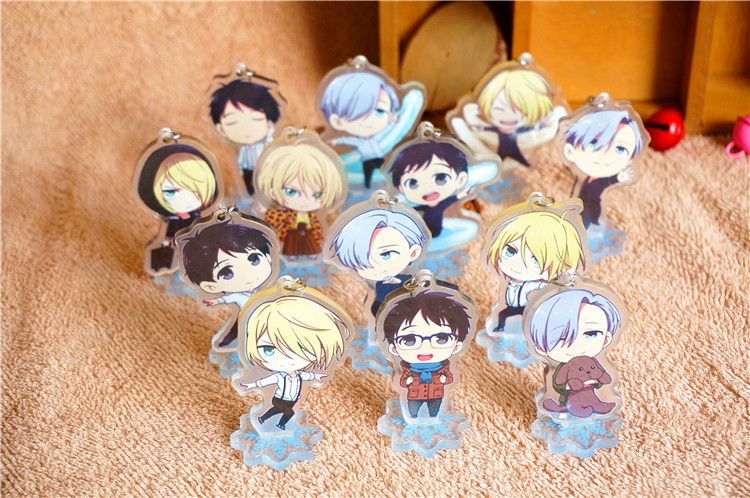 13 pcs/lot Anime YURI ON ICE Acrylic Stand Model Toys yuri on ice keychain Pendant toy gift