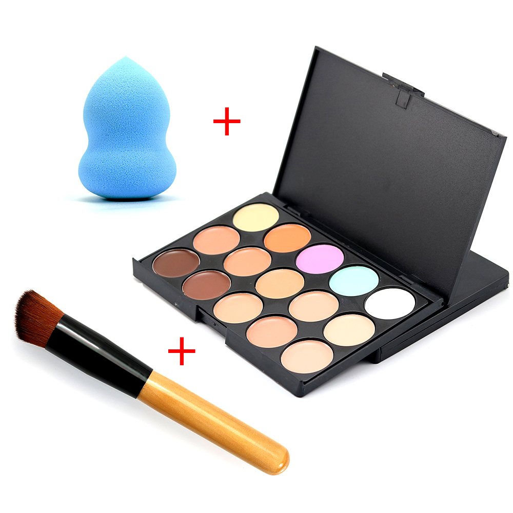 2016 New Professional Brush Puff Foundation Cream Round Face Contour Kit Color Corrector 15 Concealer Palette Makeup Sets все цены