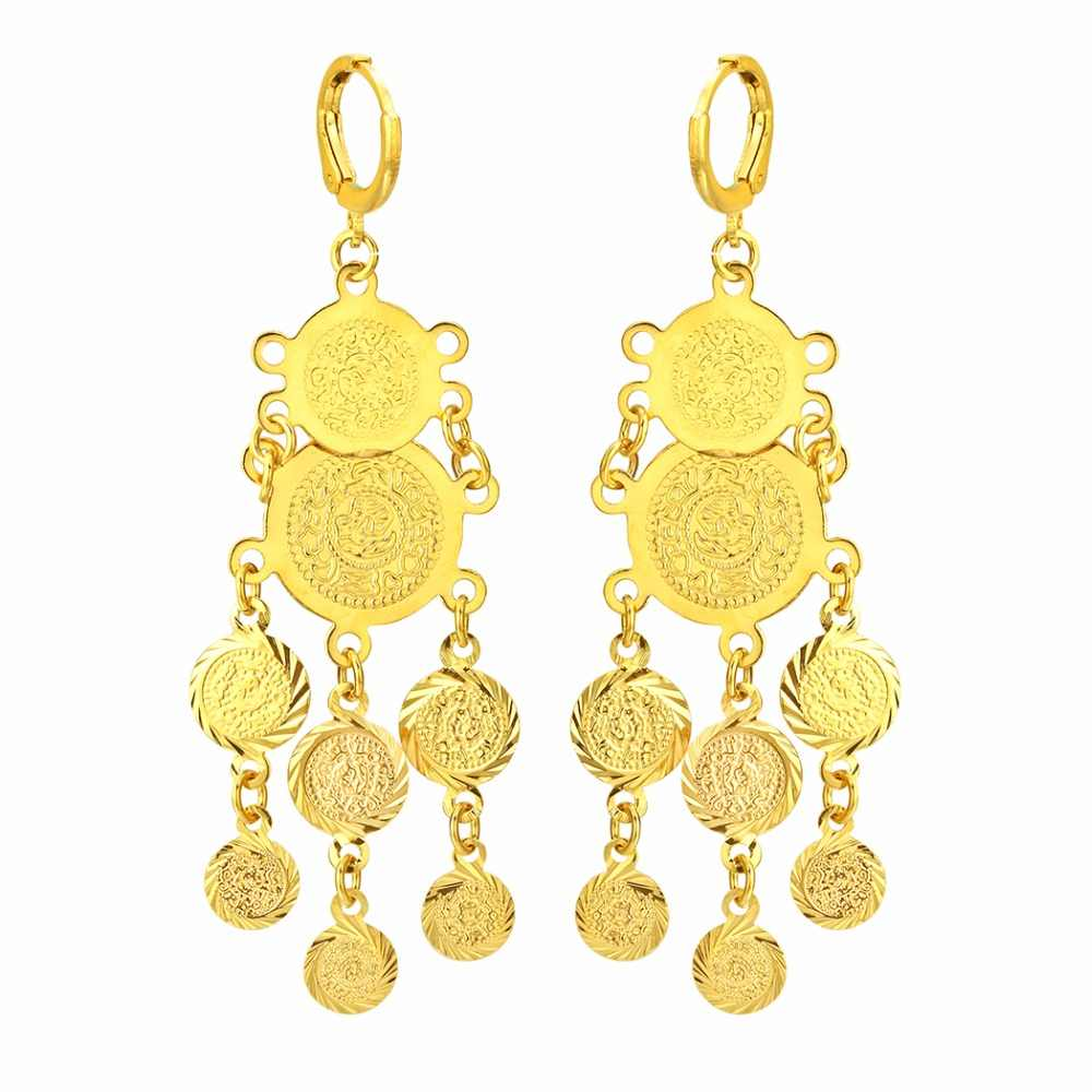 CHENGXUN Muslim Gold Color Drop Earrings for Women Girls Nigeria Jewelry Gifts with Pieces Tassel Coin Pendant Earrings 2018