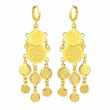 CHENGXUN Muslim Gold Color Drop Earrings for Women Girls Nigeria Jewelry Gifts with Pieces Tassel Coin Pendant Earrings 2018(China)