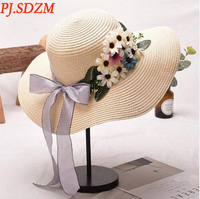 PJ.SDZM 2PCS/LOT New Design Women Flowers Straw Hat Female Summer Casual Beach Hat Travel Sun Hats All Match For Gifts
