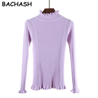 BACHASH Turtleneck Sweater Women 2017 Autumn Winter New Long Sleeve Solid Pullovers Knitted Sweaters 12 Color