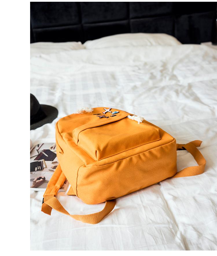 Menghuo 5 Pcsset Women Backpacks Cute Plane Badge School Bags For Teenage Girls Simple Canvas Backpacks Ladies Shoulder Bags (22)