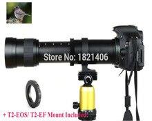 Новый 420-800 мм f/8.3-16 супертелеобъектив ручной зум теле + T2 адаптер для Canon 1100D 650D 600D Nikon D600 D7200 D5500