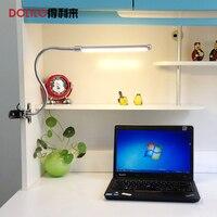 Lámpara de escritorio del LED 6 w dimmable 220 v 5 V niños libro llevó mesa de luz de lectura clip flexible de la lámpara flexible de carga del USB led lámpara