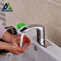 Waterfall Bathroom Automatic Sensor Faucet Chrome Cold Water Tap Bathroom Sense Faucets With 4 Hole Cover