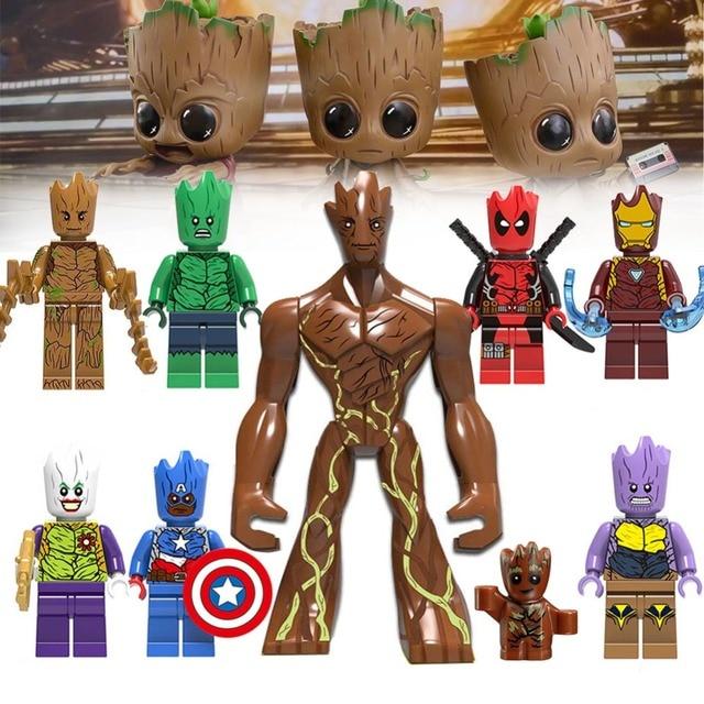 Groot lEGOED Super Hero Figura Set Spiderman Batman Wolverine Hulk Thor Homem Super modelos de conjuntos de Blocos de Construção Tijolos Brinquedos