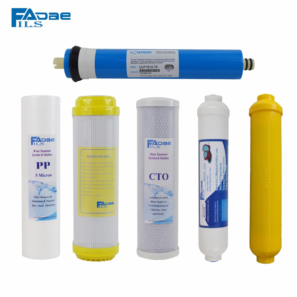 Reverse Osmosis 6 Filters with Membrane Replacement Set 75 GPD Membrane 5 stage reverse osmosis system replacement filters 50gpd csm membrane element pack of 2