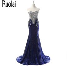Real Sample Luxury New Arrival Blue Lace Sequined Beading Crystal Sweetheart Mermaid Formal font b Evening