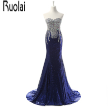 Real Sample Luxury New Arrival Blue Lace Sequined Beading Crystal Sweetheart Mermaid Formal Evening Dresses For Wedding Party