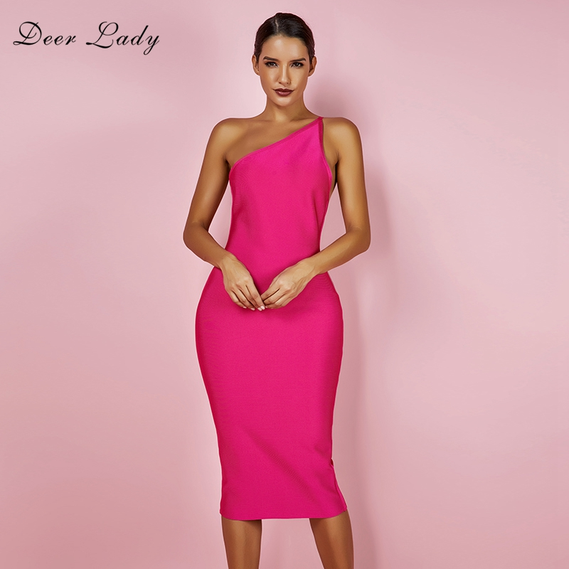 Us 2806 33 Offdeer Lady Women 2019 Bandage Dress Midi Sexy One Shoulder Bandage Dress Party Long Bodycon Vestido Bandage Backless Club Rose Hl In