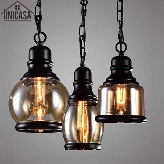 Assez Moderne pendentif lampes Industrielle Bar lumière Ambre Verre  FU05