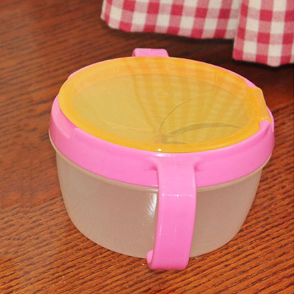 Снэк Хранитель чашка для закусок бисквит чаша посуда с крышкой ABS двойная ручка держатель для хранения тарелки карамельной расцветки безопасный продукт ребенка - Цвет: red