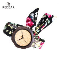 REDEAR Free Shipping Ebony Wood Watches Women Watch Wristwatche With Cloth Strap Womens Bling Watches Birthday Anniversary Gifts
