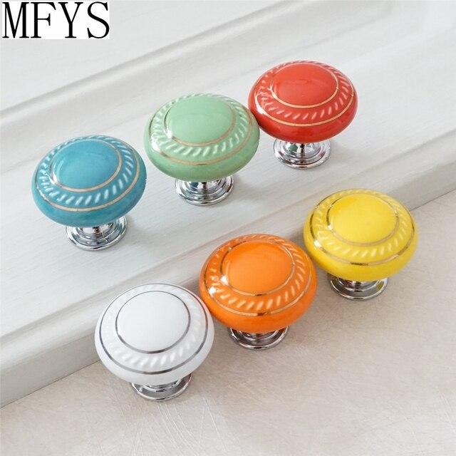 Us 3 12 11 Off Dresser Knob Drawer Pulls Handles Ceramic Cabinet Knobs Kitchen Furniture Hardware Green Red Orange Blue Yellow Black White In