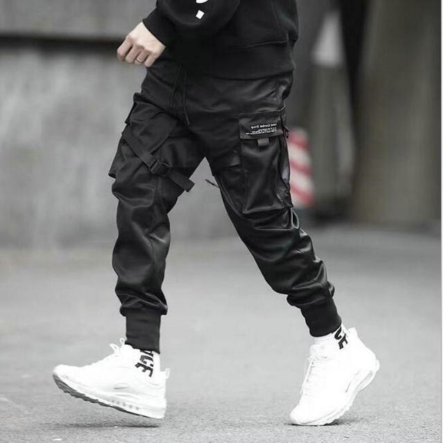 2019 Hip Hop Boy Multi-pocket Elastic Waist Design Harem Pant Men Streetwear Punk Casual Trousers Jogger Male Dancing Black Pant 1