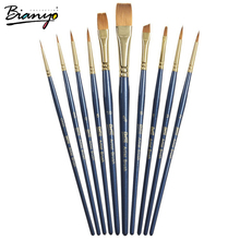 Bianyo 10Pcs/Set Nylon Hair Wooden Watercolor Paintbrush Set For Arylic Gouache Drawing Painting Brushes School Art Supplies