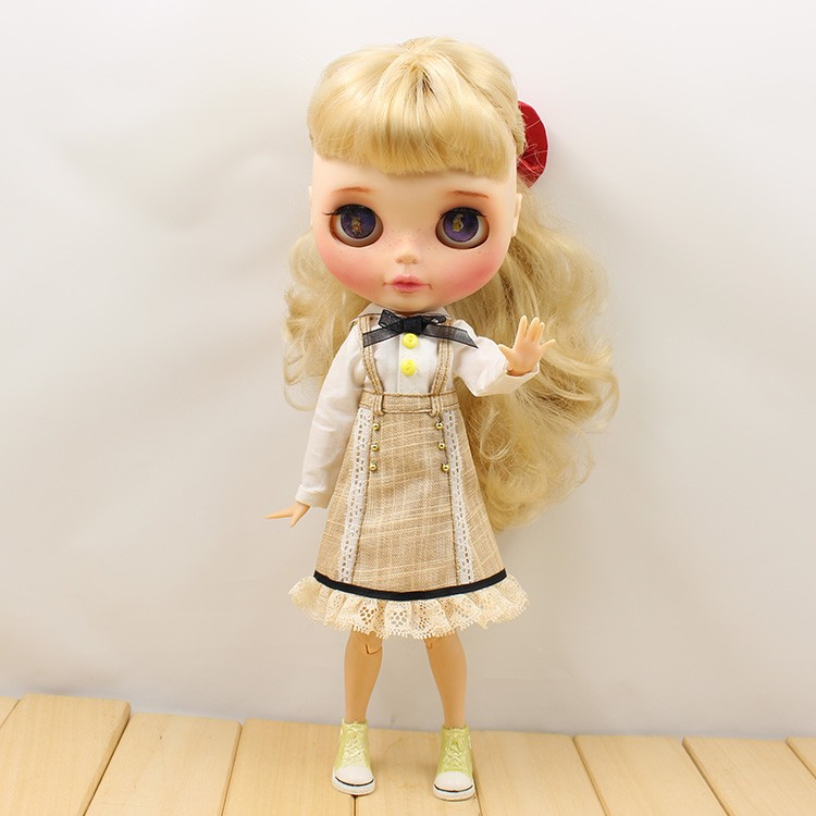 Neo Blythe Doll Strap Overalls Shirt With Bow 3