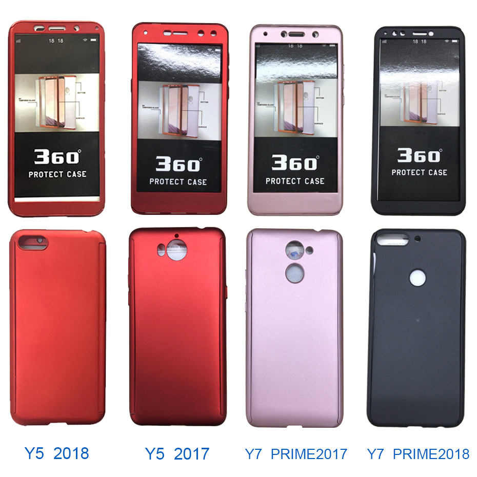 luxury 360 full cover phone case for huawei y7 y6 prime y5 2018 case for huawei p9 lite P10 plus y7 2017 case cover with glass